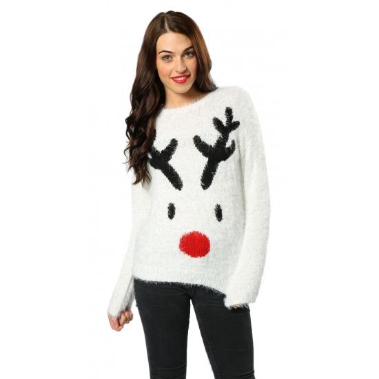 best verkocht aliexpress lagere prijs met Kersttrui wit met rendier voor dames | Kerst truien dames ...
